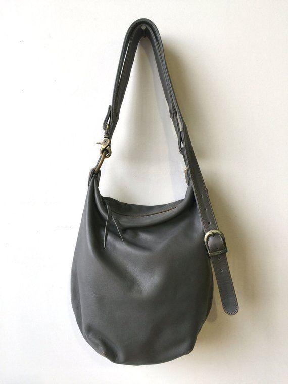 f93190f4cf45 Slouchy Sanko Bag- Grey Leather Bag- Grey Crossbody Bag- Grey Leather  Bucket Bag