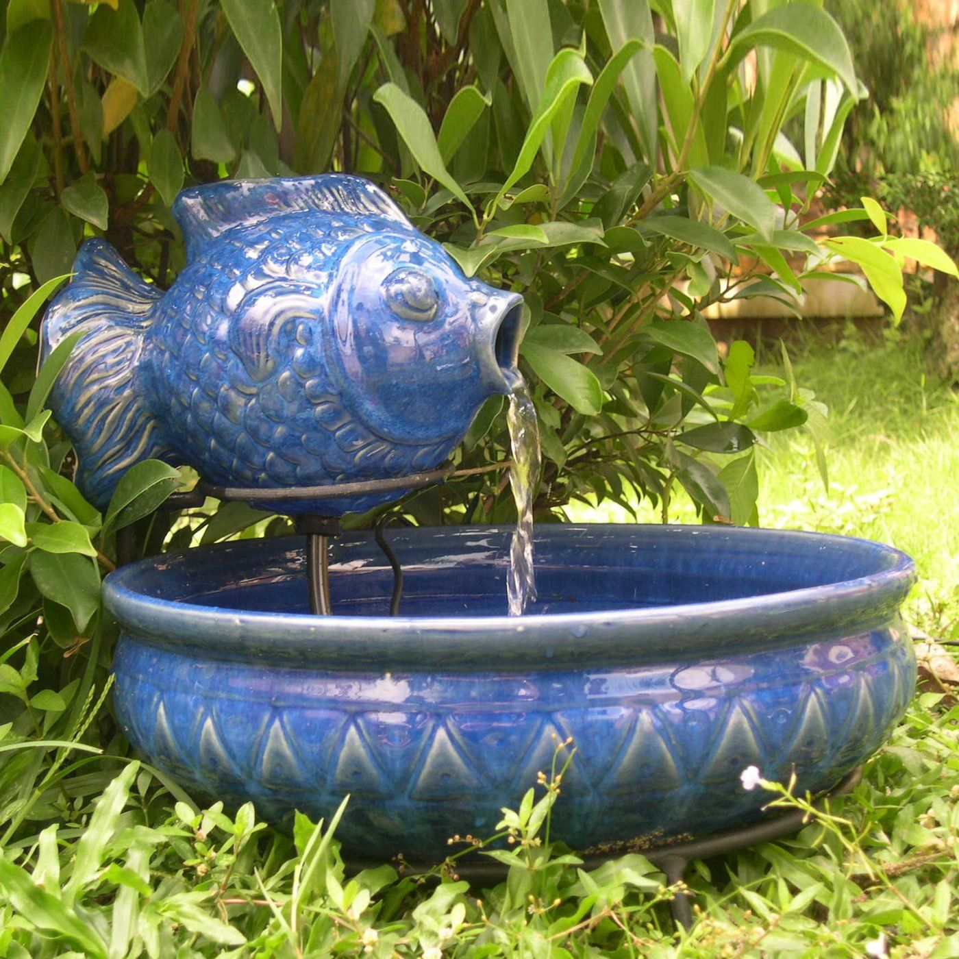 Smart solar ceramic fish outdoor fountain outdoor living for Water garden fish