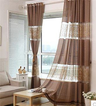Fashion high quality stripe floor curtain window screening balcony embroidered shalian high quality kitchen window curtains