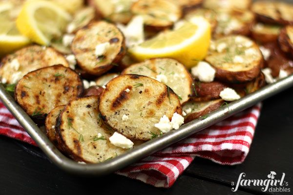 Grilled Potatoes With Lemon, Dill, and Feta: Love the Greek flavors in this.