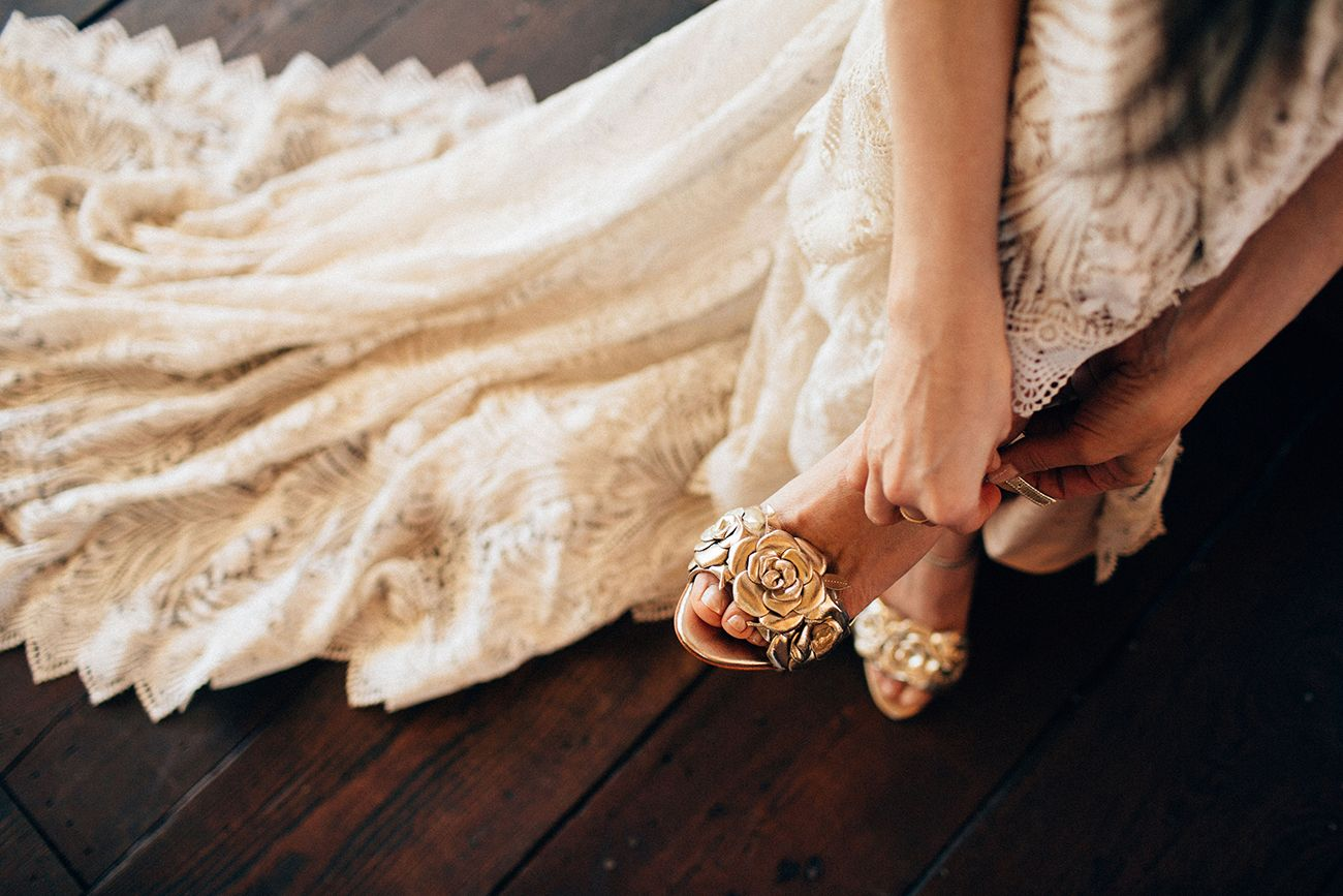 6ffd69e38bb GWS x Rachel Simpson Gold Floral Zadie Shoe at Triunfo Creek. Boho Modern Wedding  Bridal