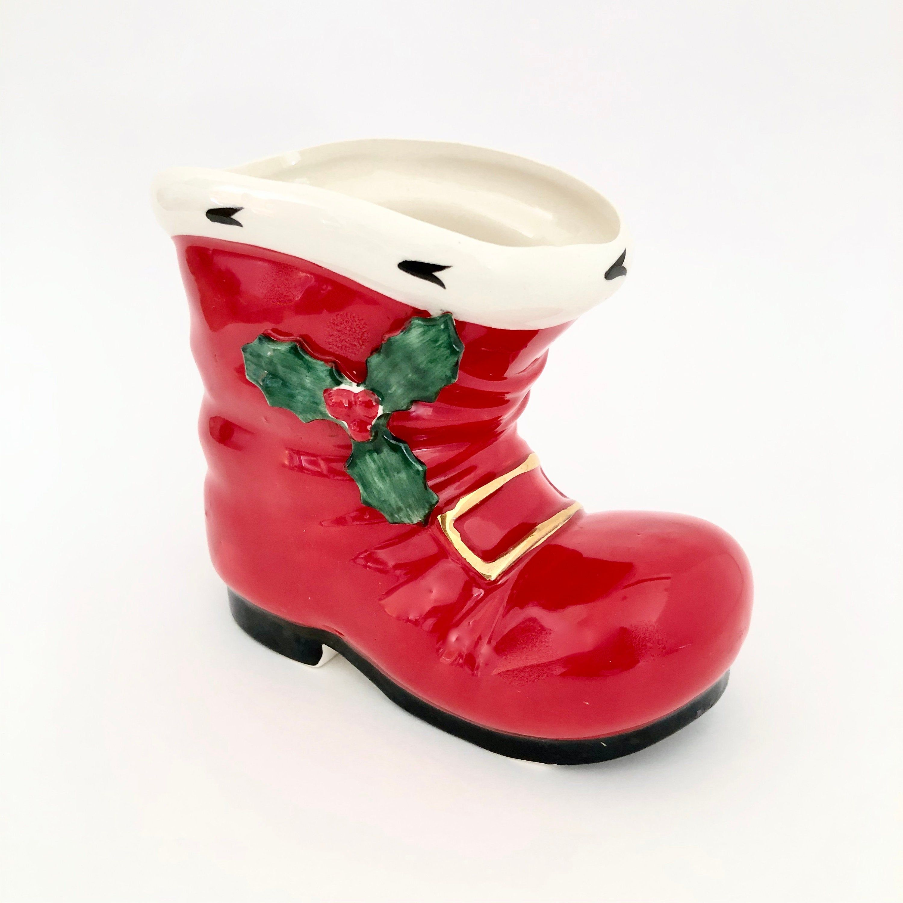 Lefton Santa Boot Holly Accented Red Boot Christmas Decor Etsy Santa Boots Lefton Figurines Red Boots