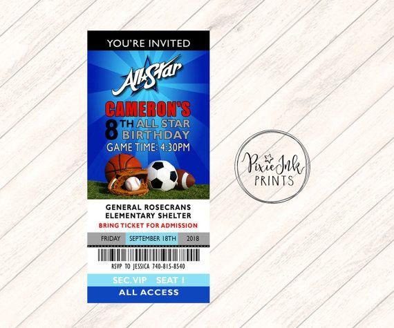Sports Ticket Invitation Sports Invitation Kids by PixieInkPrints - ticket invitation