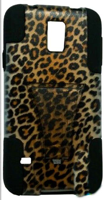 myLife (TM) Deep Coal Black and Leopard Design - Neo Hybrid Series (Built In Kickstand) 2 Piece + 2 Layer Case for NEW Galaxy S5 (5G) Smartp...