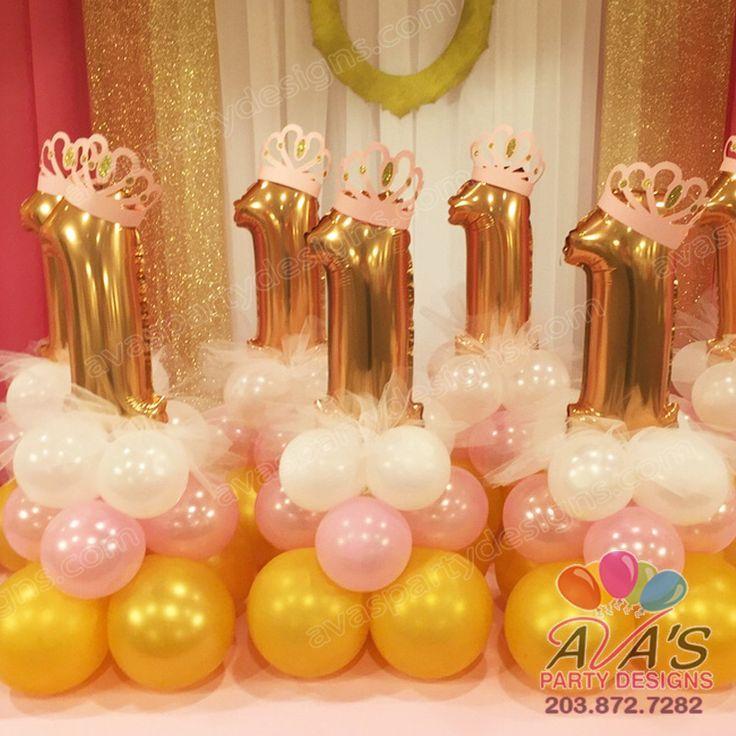 Ballerina first birthday balloons centerpiece elegantballoons