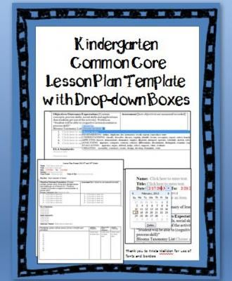 Kindergarten Common Core Lesson Plan Template with Drop-down Boxes - unit lesson plan template