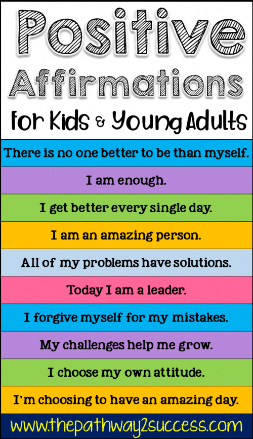 101 Positive Affirmations for Kids - Positive affirmations for kids, Affirmations for kids, Positive affirmations, Affirmations, Positivity, Social emotional learning - Positive thinking is a powerful tool that can improve your health, help you manage stress, overcome challenges, and make better choices  Everyone can benefit from improving their positive thinking skills! The idea is that by changing your thinking, you can control your emotions and your actions  Pos