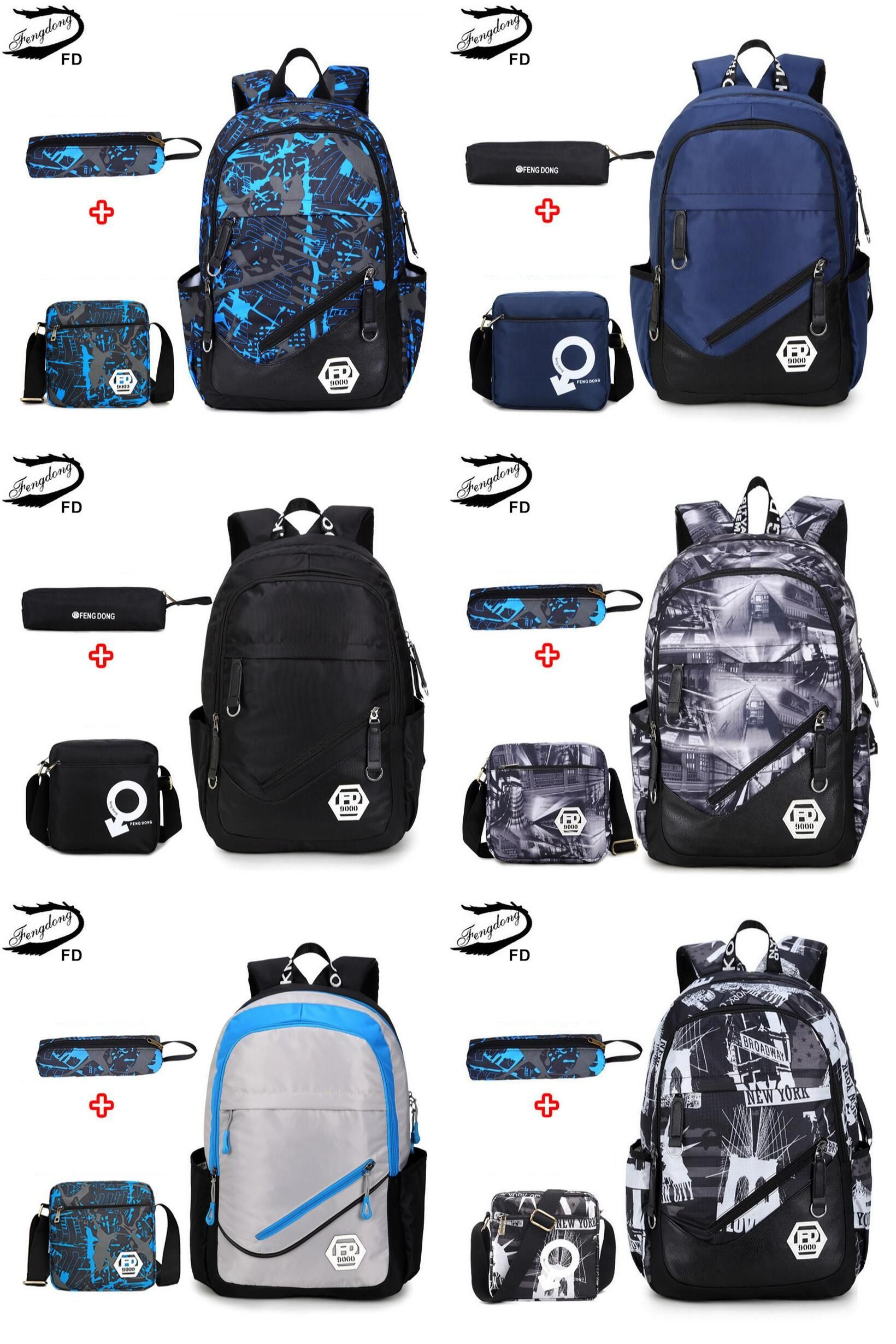 54e881960122  Visit to Buy  FengDong waterproof oxford fabric boys school bags backpack  for teenagers pencil