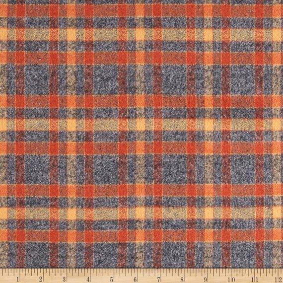 Kaufman Mammoth Flannel Plaid Rust Fabric 0404868 By The Yard