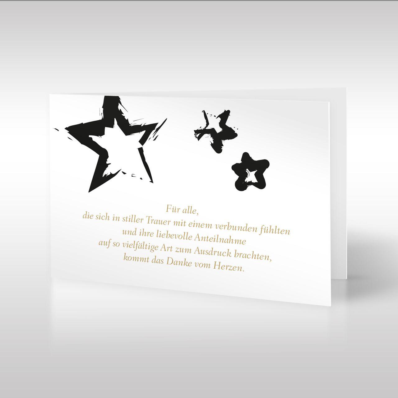 drei stern motive verzieren diese dankeskarte und bilden den rahmen f r das darunter stehende. Black Bedroom Furniture Sets. Home Design Ideas