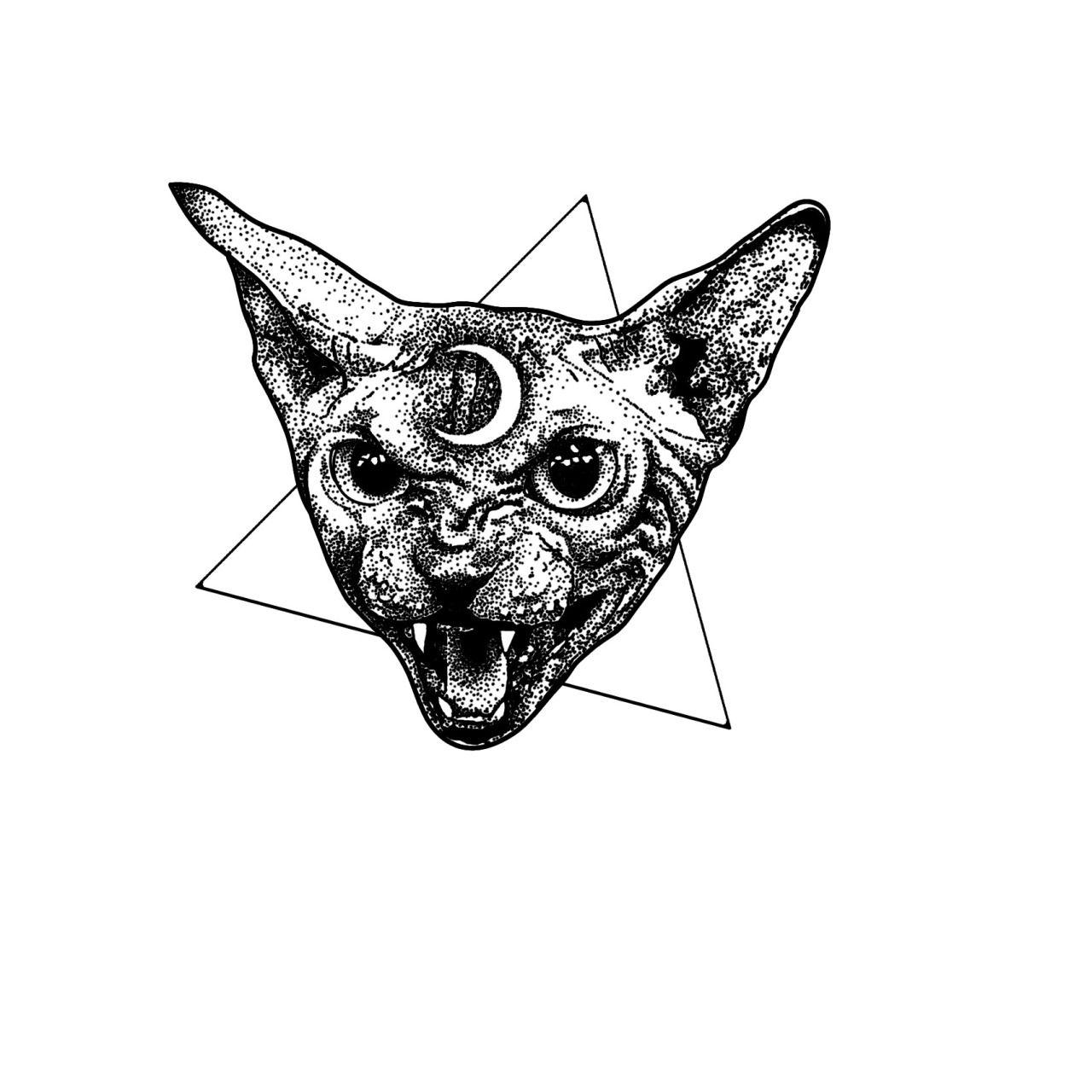 Stanley Duke Stippling Tattoo Tattoo Illustration Cat Tattoo