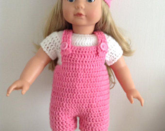 PDF Crochet pattern for dungarees set for 18 inch doll, American ...