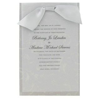 his hers gray silver wedding invitations with vellum satin