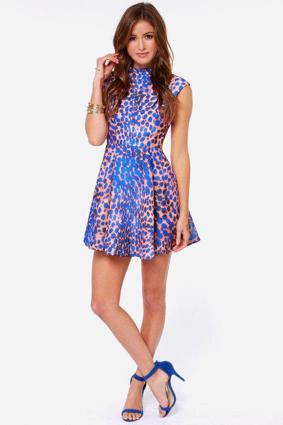 38b034218e Cameo Night Sky Cobalt Blue Leopard Print Dress at Lulus.com!