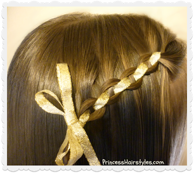 Cute waterfall chain braid hairstyle with ribbon