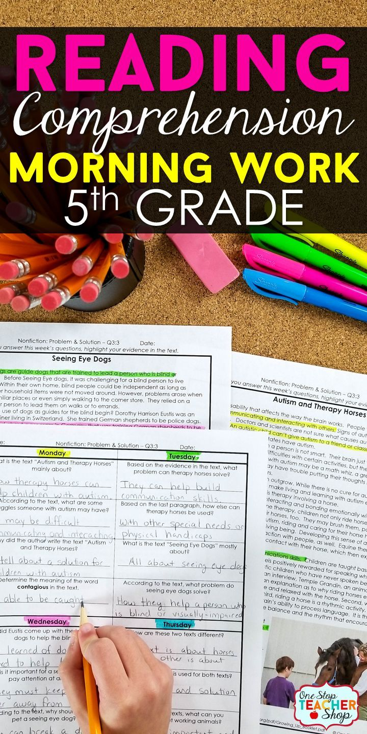 5th Grade Reading Homework | Reading Comprehension ...