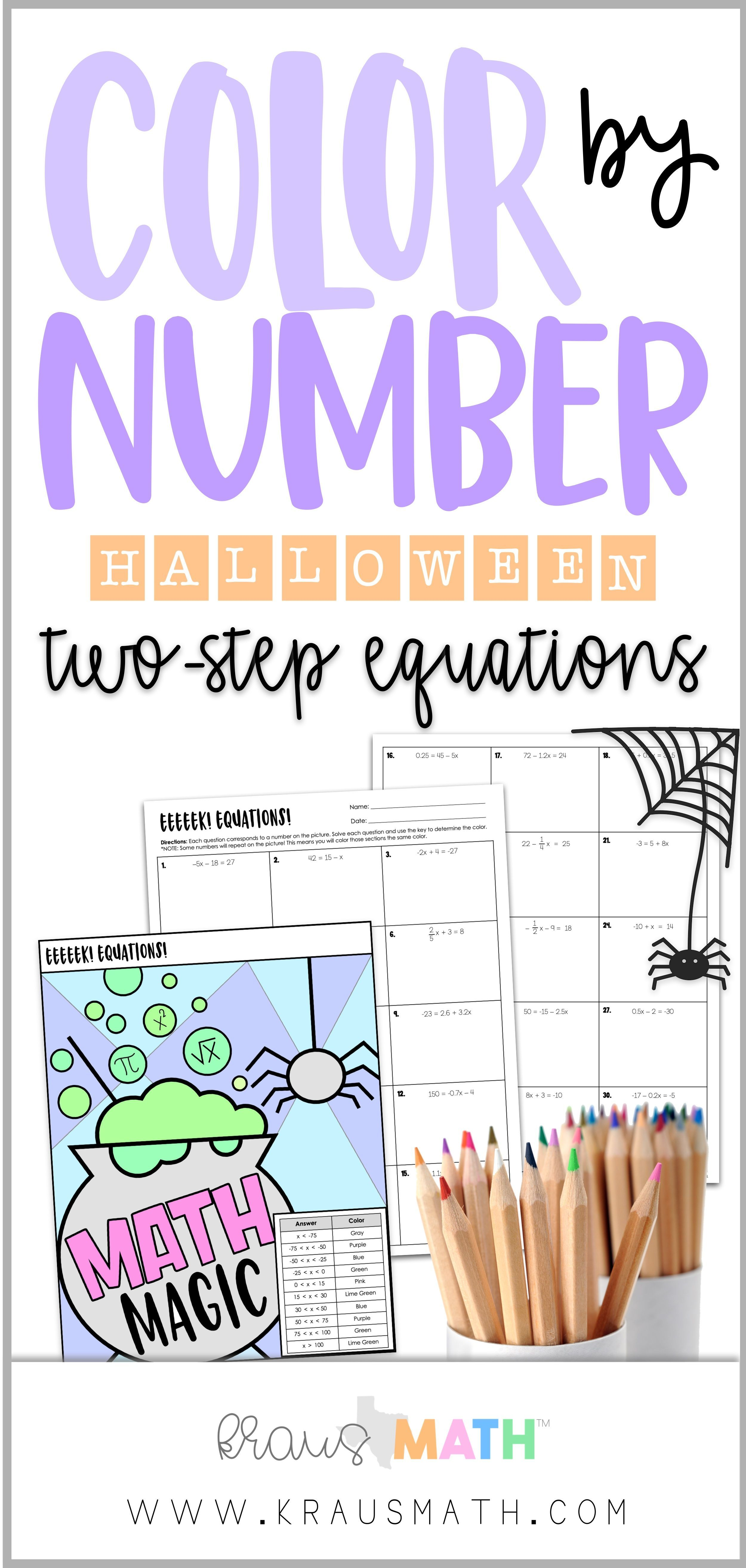 Halloween Theme Math Magic Witches Brew Color By Number