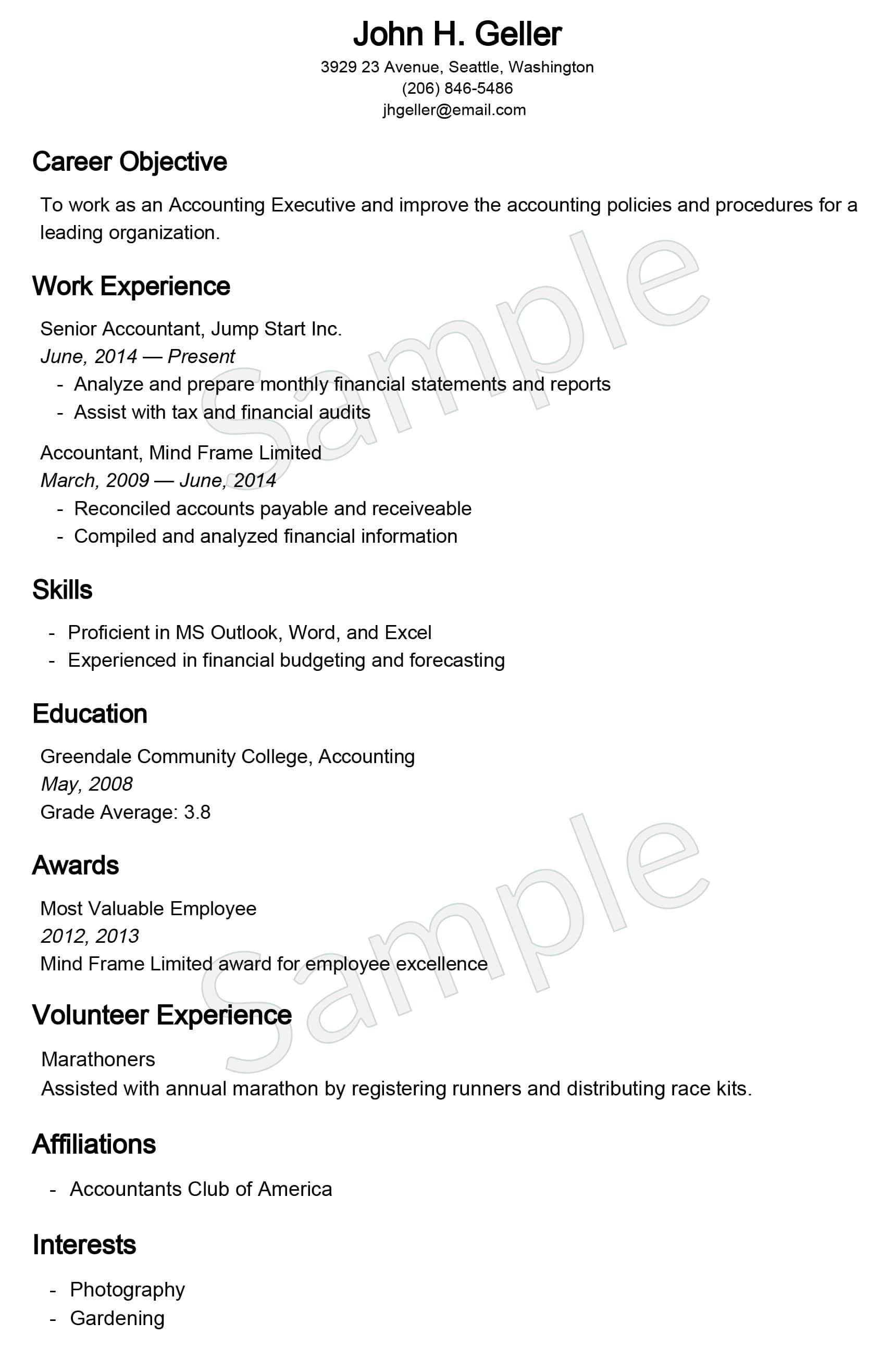 us resume example