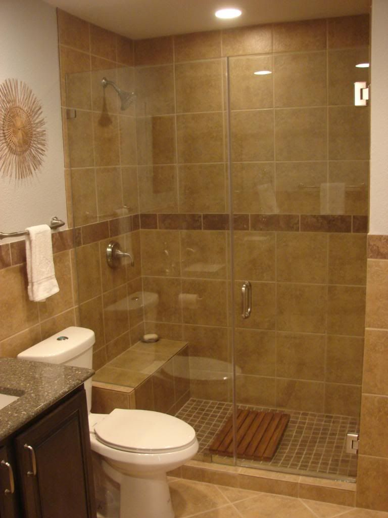 More frameless shower doors in a small bathroom like mine for Stand up bath tub
