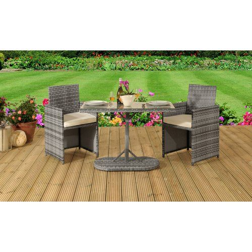 Maribel 2 Seater Bistro Set With Cushions Lynton Garden Colour Grey Bistro Set Corner Dining Set Outdoor Furniture Sets