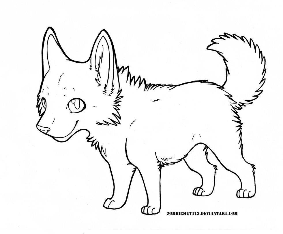 Cute Wolf Pup Lineart by ZombieMutt13 on DeviantArt | Coloring Pages ...