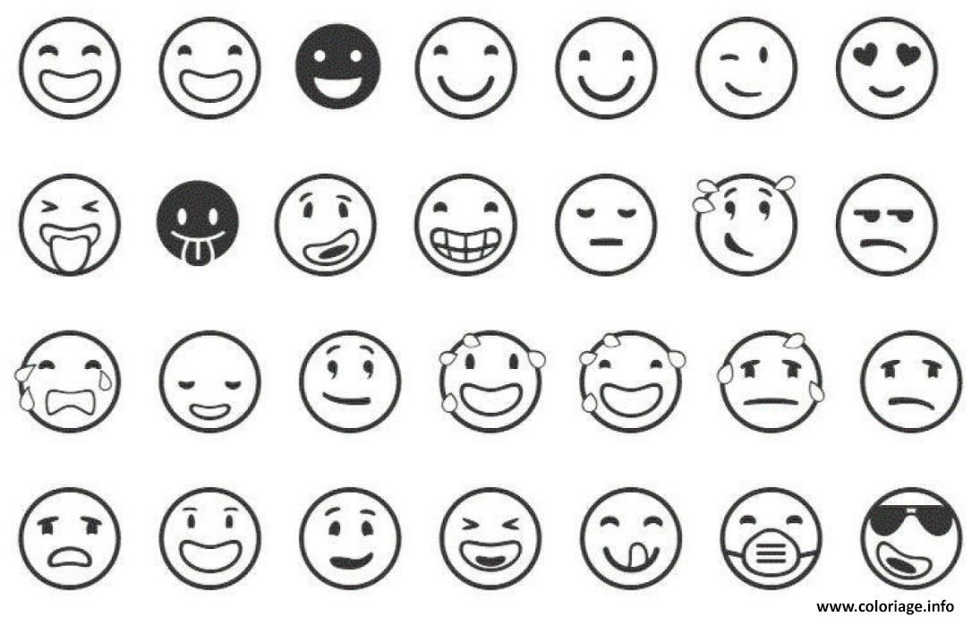 Coloriage Smiley Kawaii.Coloriage Emoji List Dessin A Imprimer Emoticones Emoji Coloring