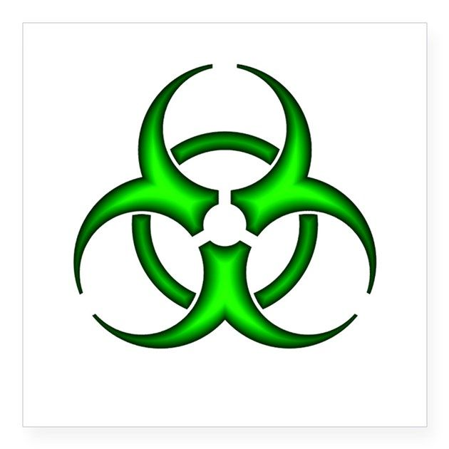 Neon Green Biohazard Symbol Oval Sticker