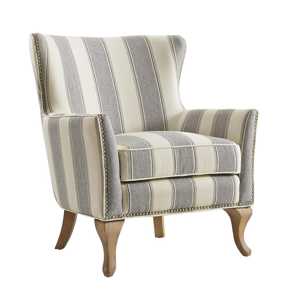 Dorel Living Dotty Gray Upholstered Accent Chair Gray Stripe