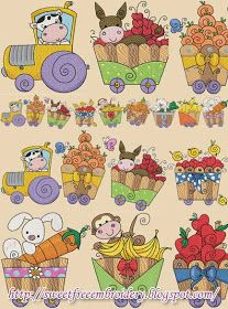 Sweet Free Embroidery: Modular Fruits Tractor Free Embroidery