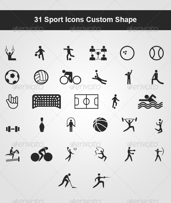 31 Sport Icons Custom Shape Sport icon, shapes