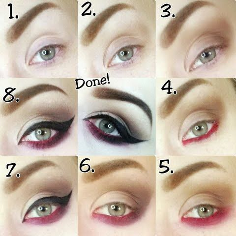 This bold black cat eye is paired with vibrant smokey red eyeliner to create the perfect night out look. Find out what products you need to follow this step by step guided pictorial.