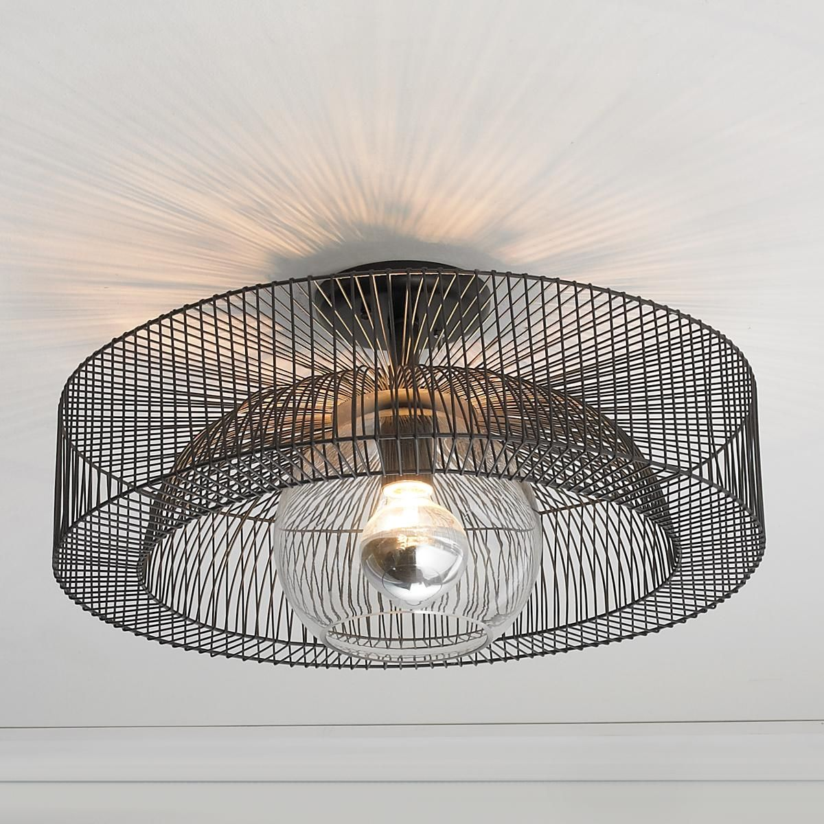 Wire Wheel Semi-Flush Ceiling Light A simple wire spoke wheel ...