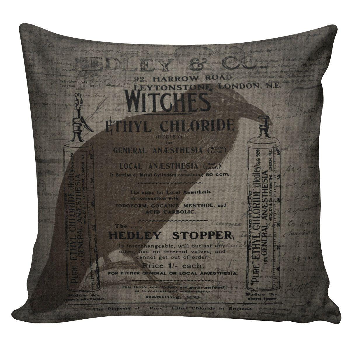 Halloween Pillow Vintage French Pillow Halloween Witches Raven ...