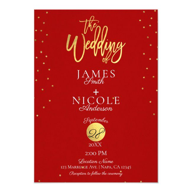 Modern Minimal Red  Gold Foil Photo Wedding Invitation