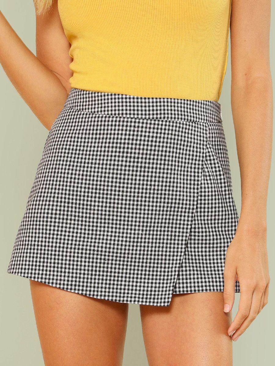 35d2c232d Overlap Front Plaid Shorts -SheIn(Sheinside) | style | Plaid shorts ...