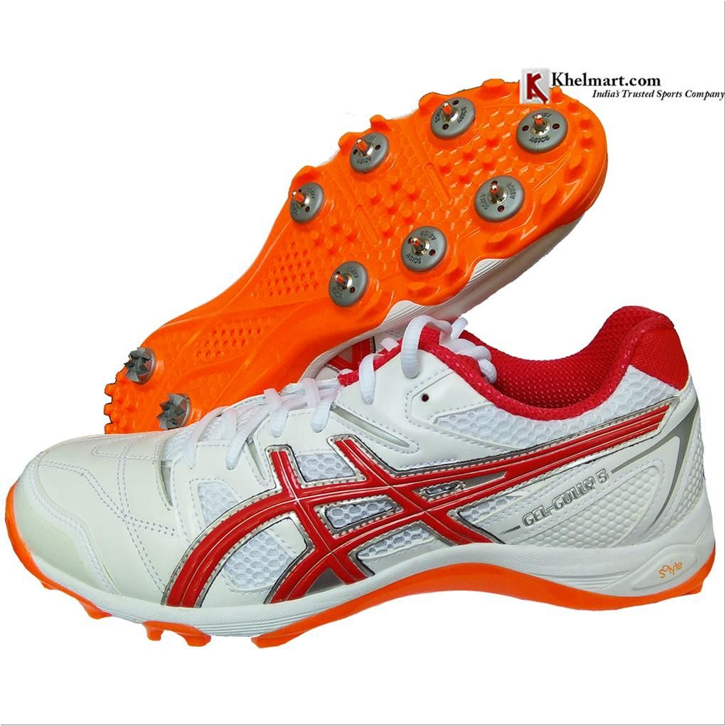 Asics Gel Gully 5 Full Spike Cricket Shoes Color White And Red Alart Buy Asics Gel Gully 5 Full Spike Cricket Shoes Color White And Red Alart Online At Lowest