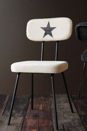 Star Print Canvas Dining Chair Off White