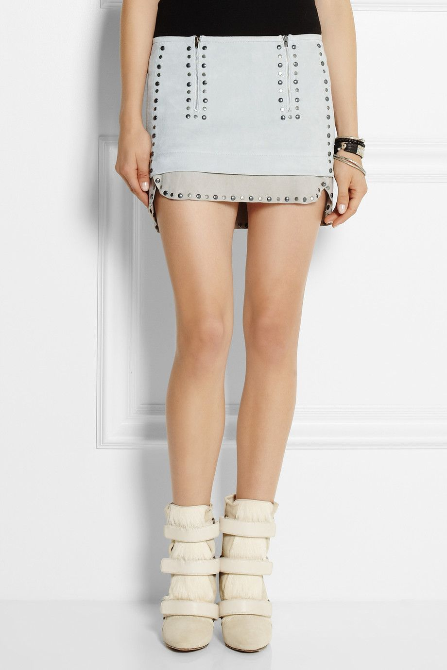 ab74ea07fa Isabel Marant | Iolana studded suede mini skirt | | Fashion | Suede ...