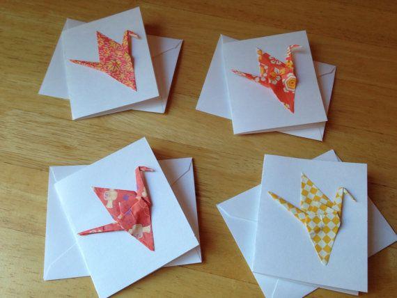 Set of four tiny origami crane greeting cards origami cranes set of four tiny origami crane greeting cards m4hsunfo