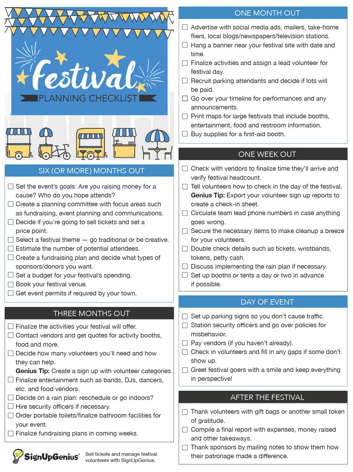 Festival Planning Checklist Festival Planning Community Event Planning Event Planning School