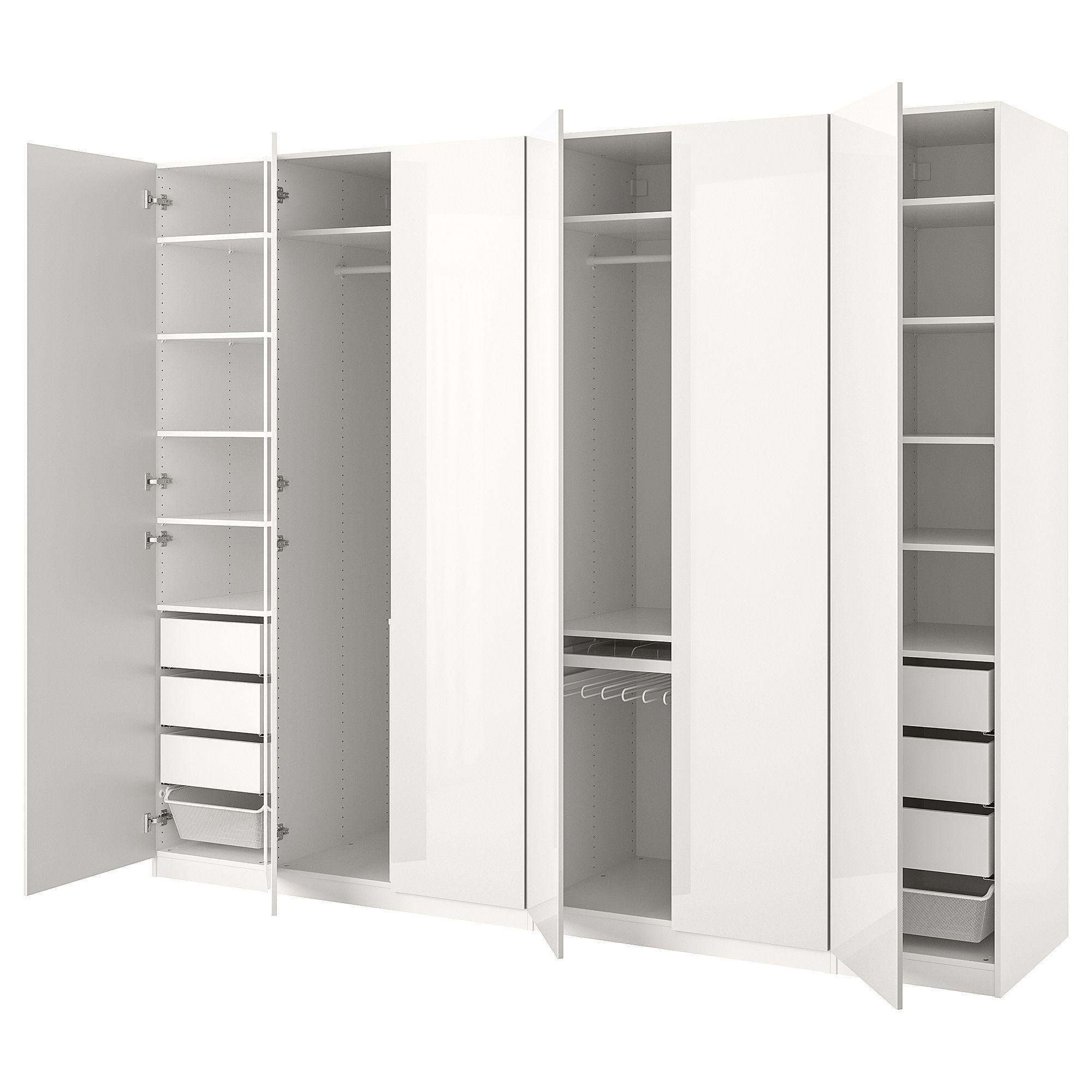 Wardrobe, white, Fardal highgloss/white, 118 1/8x23 5