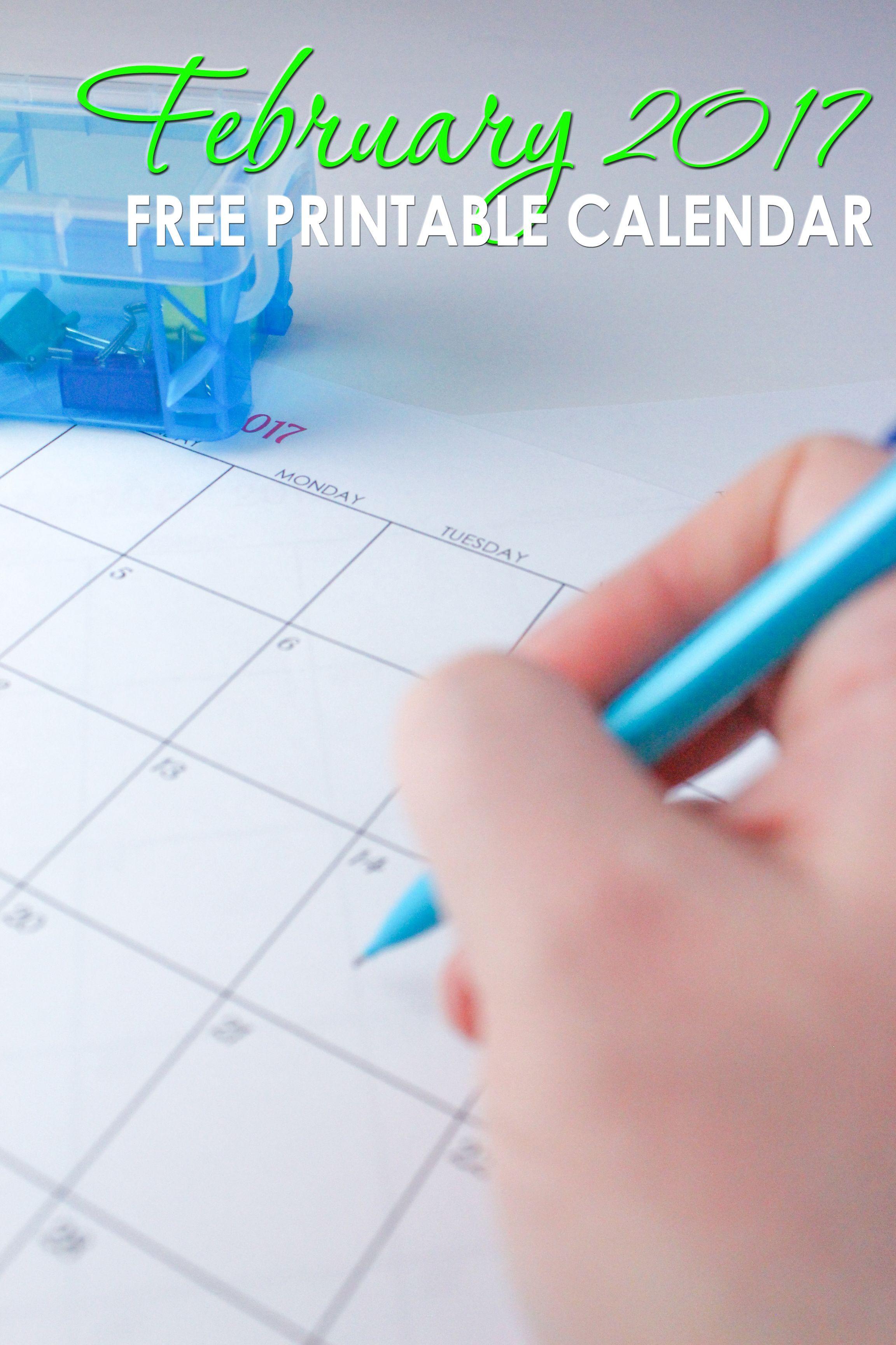 Free Blank Online Calendar February 2017 | Your life, Organize ...