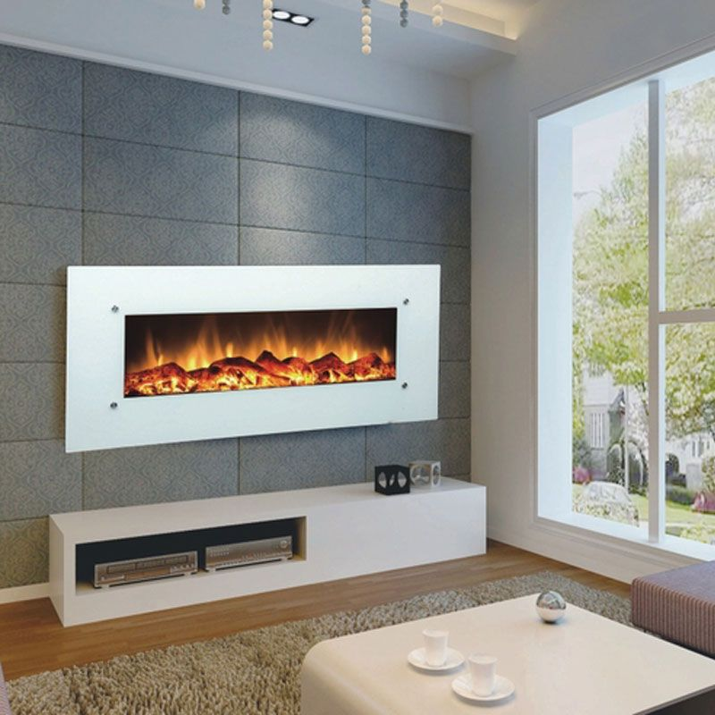 Touchstone Ivory 50 Inch Electric Wall Mounted Fireplace White