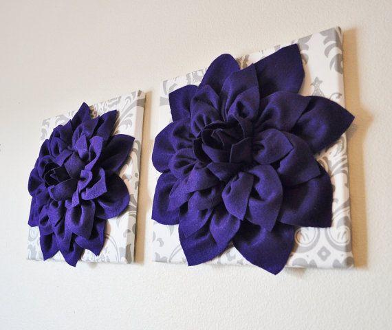 Wall Art - Lilac Purple Dahlia on Gray and White Damask 12 ...