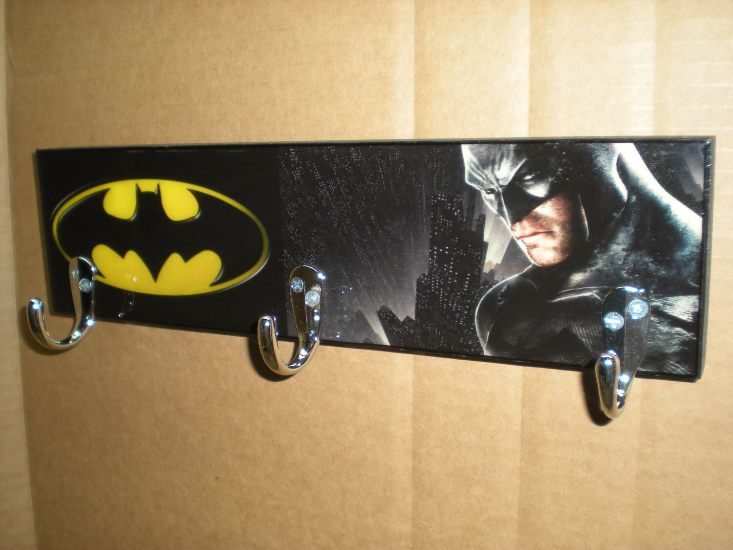 Batman coat rack batman sign super hero decor coat hooks batman wall hooks towel rack - Kids decorative wall hooks ...