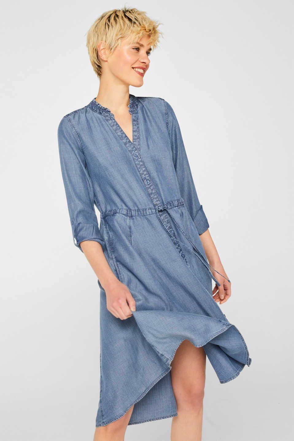 Esprit - Gestreiftes Lyocell-Kleid im Denim-Look  Kleider, Denim