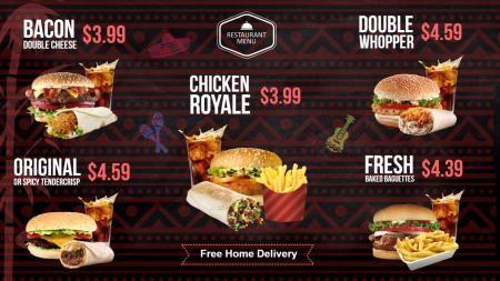Burger Menu Board Digital Signage Template Coffee Shop Workshop