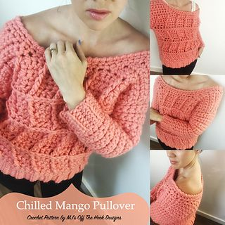 This is a PDF crochet pattern for a ladies Bulky pullover. Bulky knits are the rage in fashion and high end yarns this season! Stay right on trend with this delicious Chilled Mango sweater made in Sugar Bush Yarns Chill.
