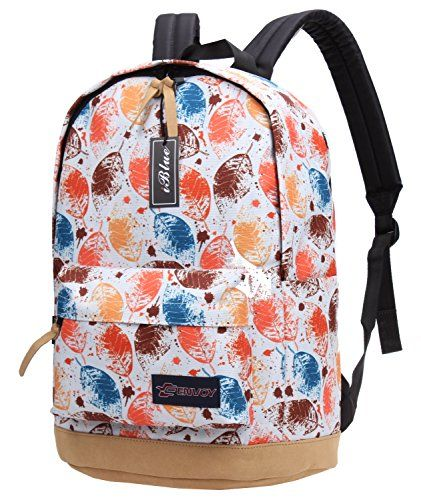 Iblue Canvas School Bag Print Travel Rucksack Student Laptop Bookbag 177in E8019 L 03 leaves * Click image for more details. (Note:Amazon affiliate link)
