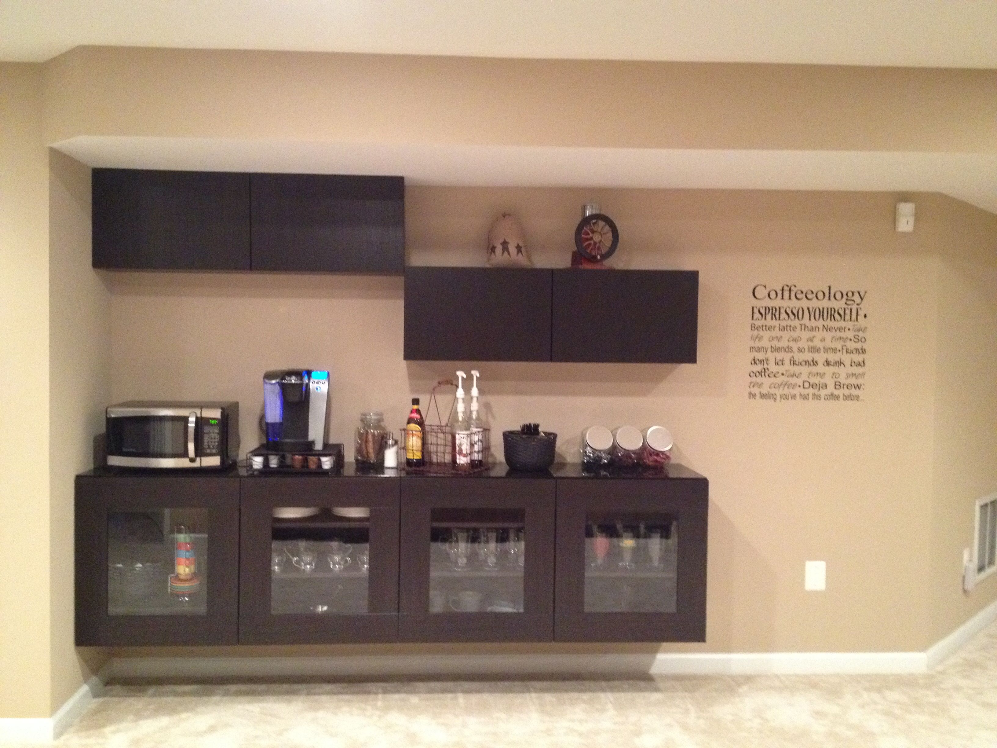 Coffee bar using IKEA Besta cabinets Basement